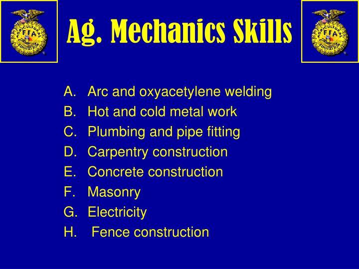 Ag. Mechanics Skills