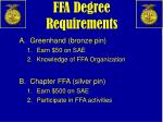 ffa degree requirements