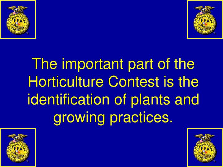 The important part of the Horticulture Contest is the identification of plants and growing practices.