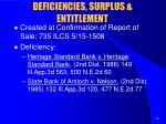 deficiencies surplus entitlement