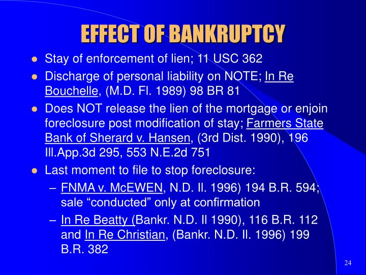 EFFECT OF BANKRUPTCY