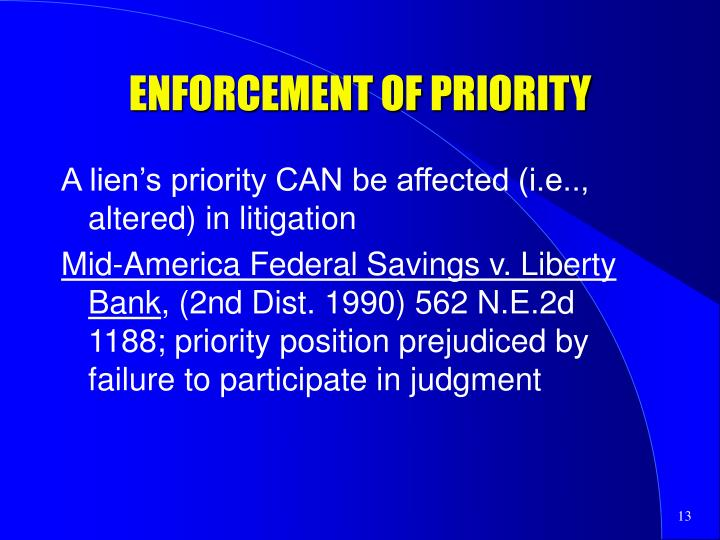 ENFORCEMENT OF PRIORITY