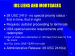 irs liens and mortgages
