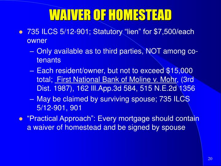 WAIVER OF HOMESTEAD