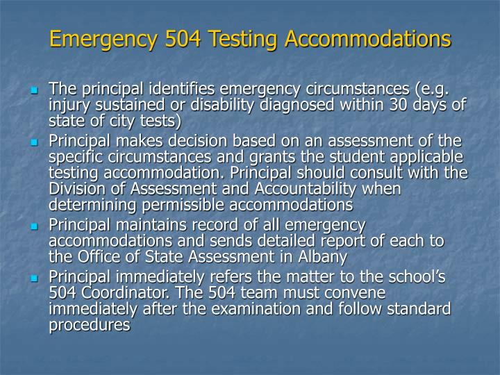 Emergency 504 Testing Accommodations