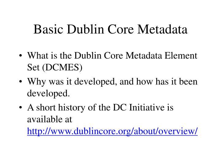Basic Dublin Core Metadata
