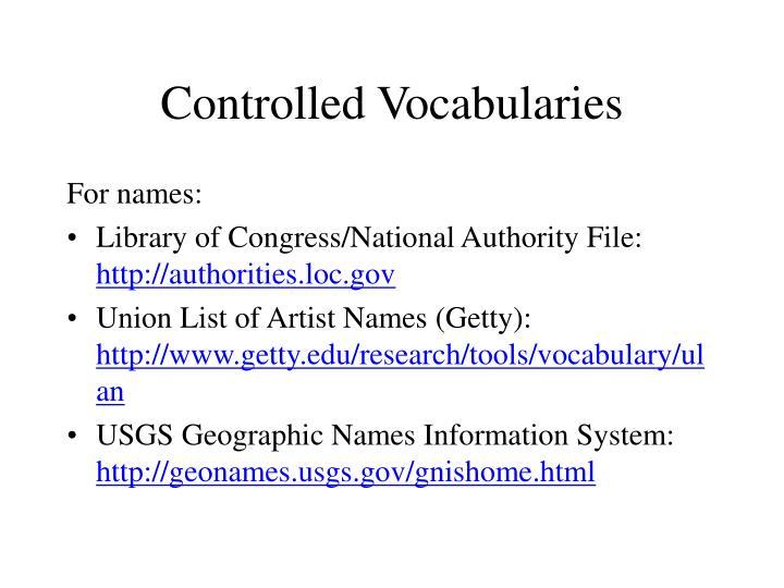 Controlled Vocabularies