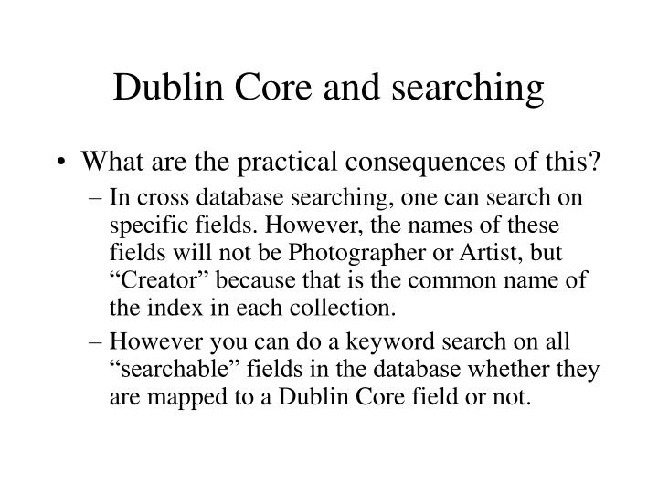 Dublin Core and searching
