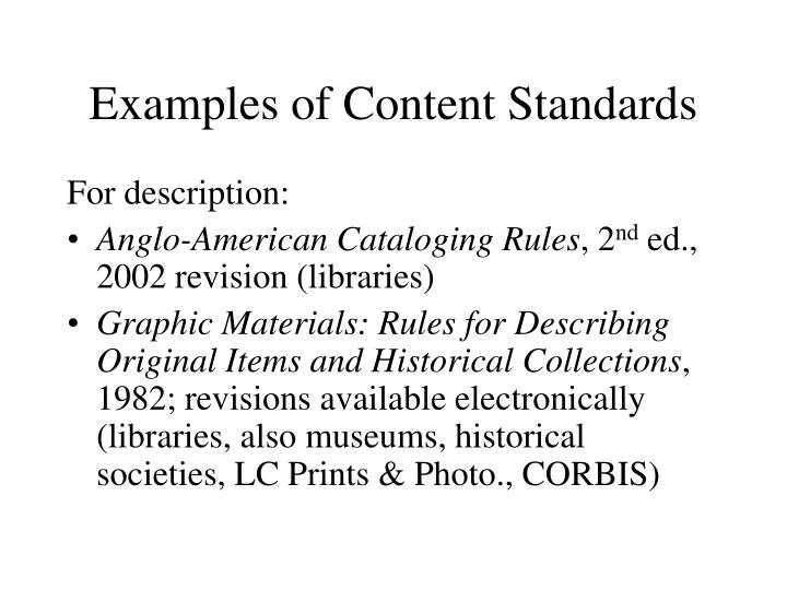 Examples of Content Standards