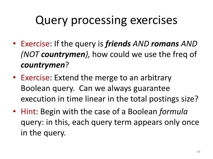 Query processing exercises