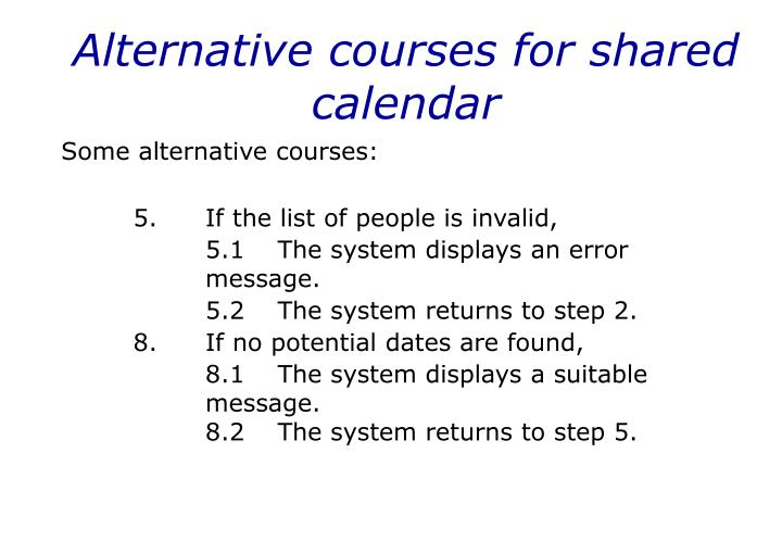 Alternative courses for shared calendar
