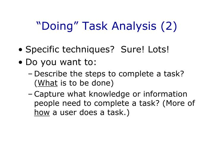 """""""Doing"""" Task Analysis (2)"""