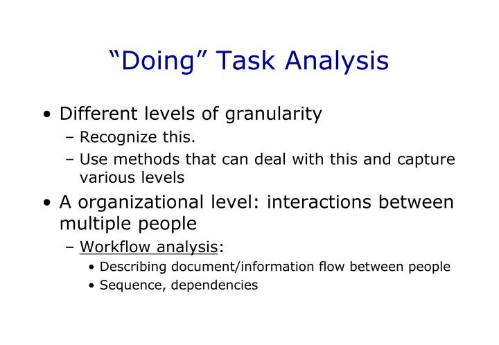 """""""Doing"""" Task Analysis"""