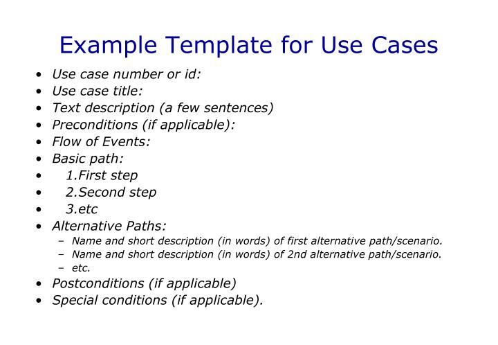 Example Template for Use Cases