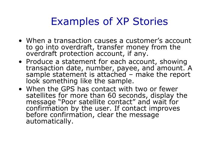 Examples of XP Stories