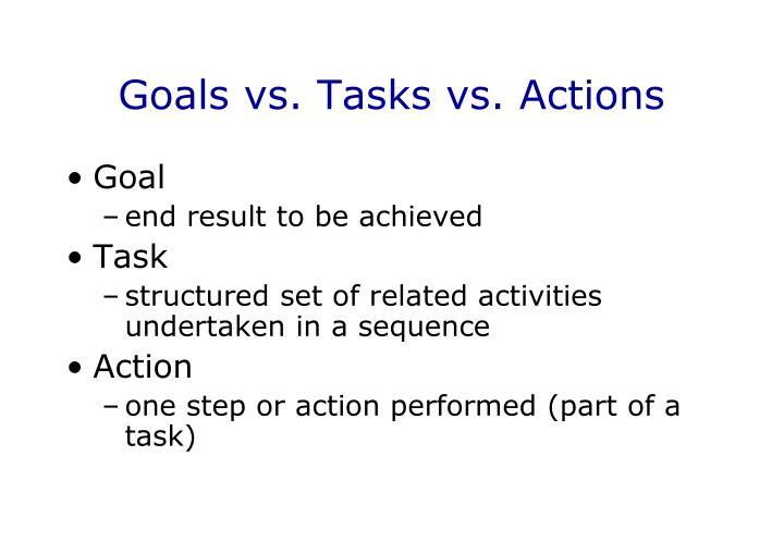Goals vs. Tasks vs. Actions