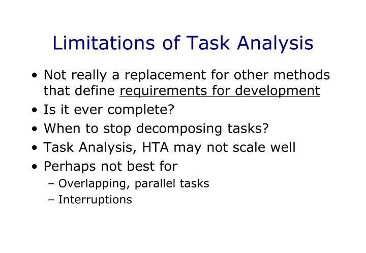 Limitations of Task Analysis