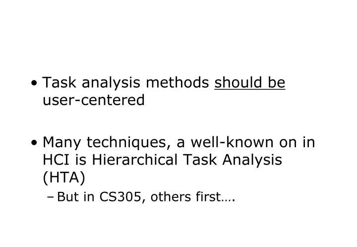 Task analysis methods