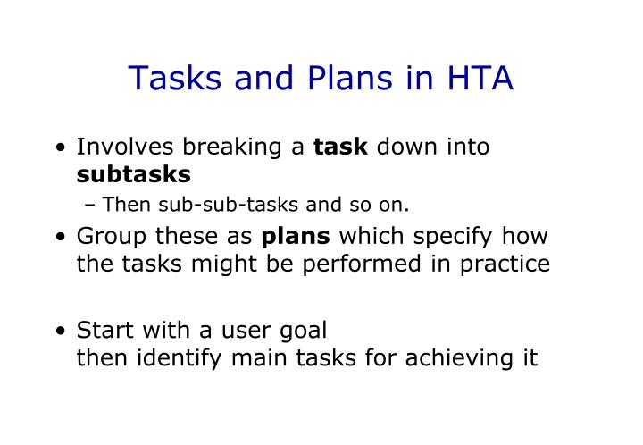 Tasks and Plans in HTA
