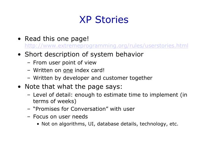 XP Stories