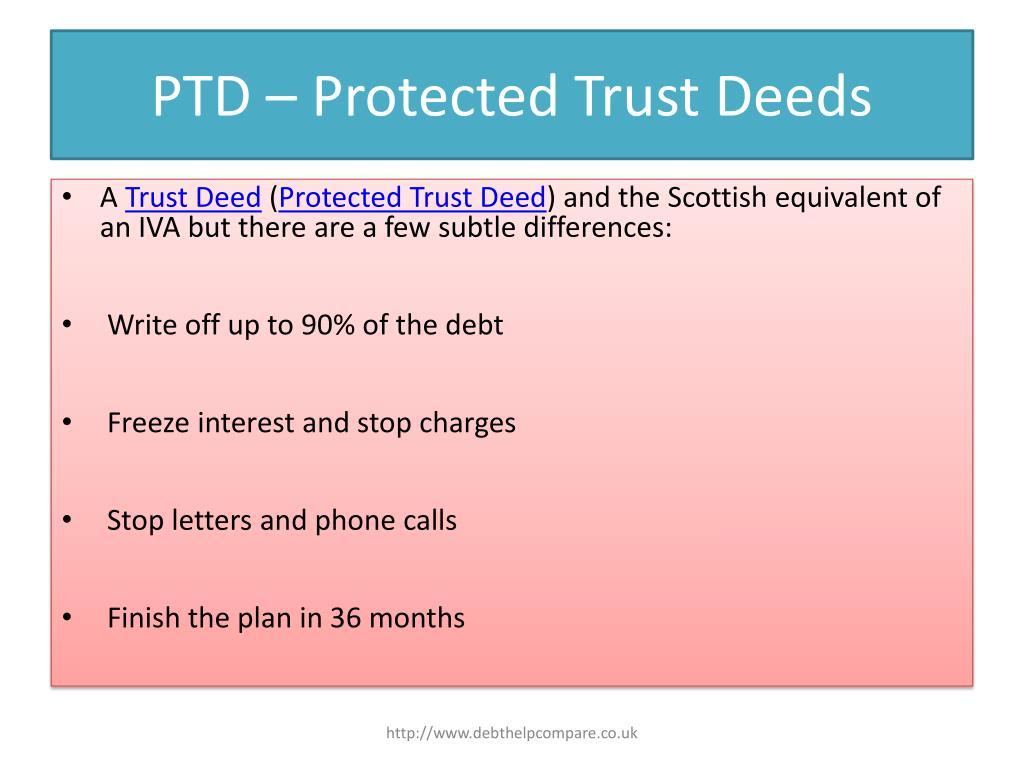 PTD – Protected Trust Deeds