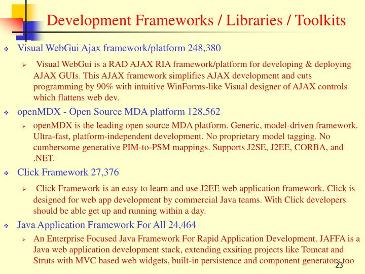 Development Frameworks / Libraries / Toolkits