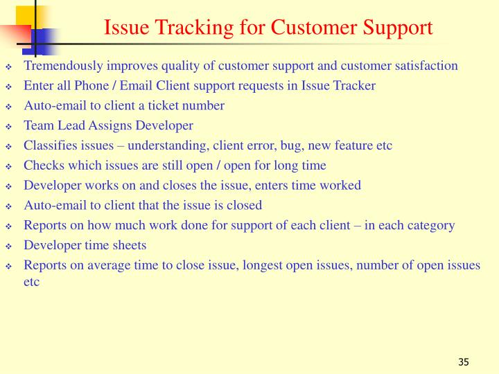 Issue Tracking for Customer Support