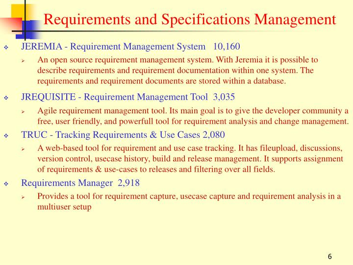 Requirements and Specifications Management