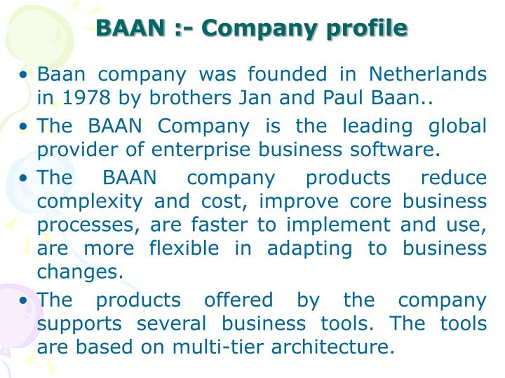 BAAN :- Company profile
