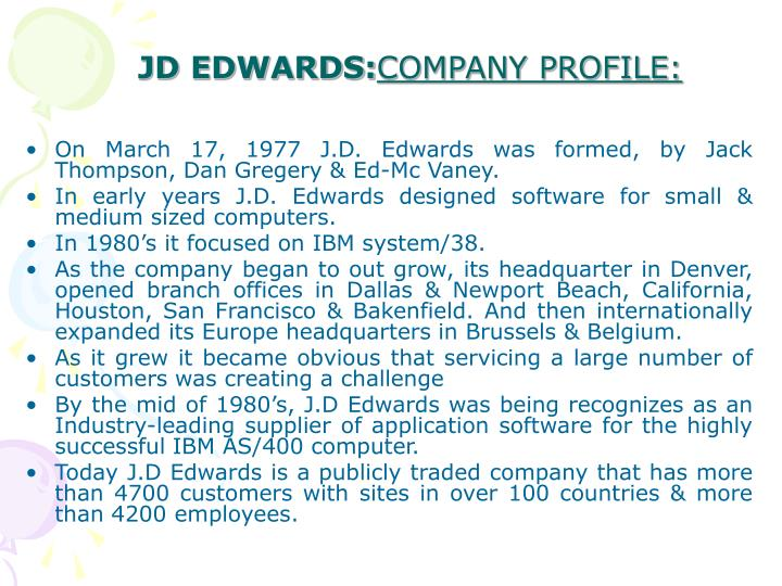 JD EDWARDS: