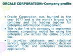 orcale corporation company profile