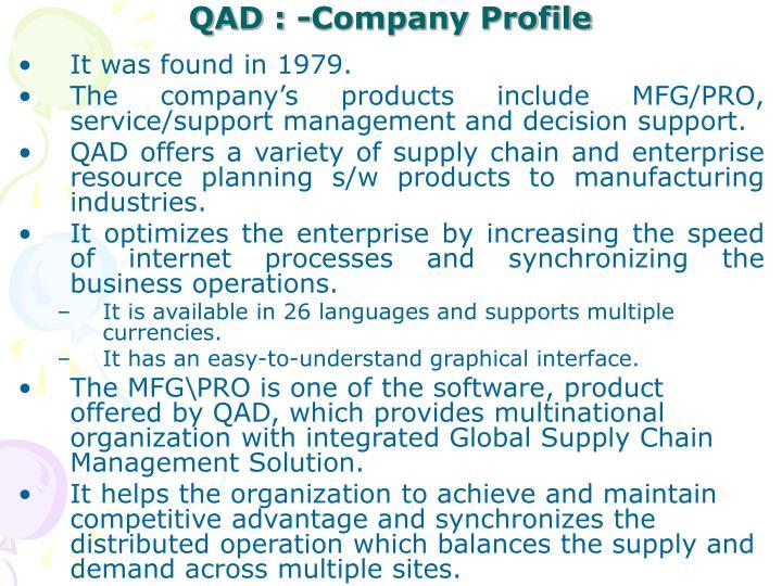 QAD : -Company Profile