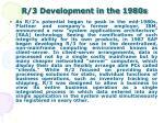 r 3 development in the 1980s