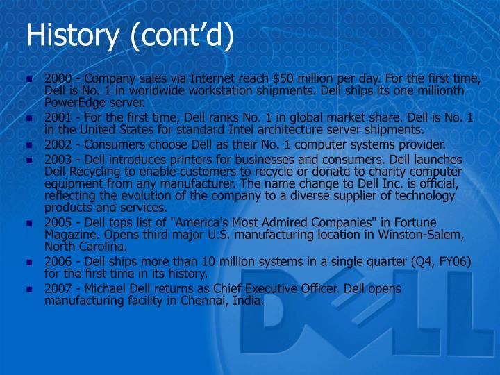 History (cont'd)