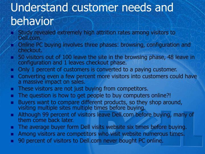 Understand customer needs and behavior