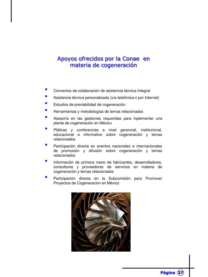 Apoyos ofrecidos por la Conae  en materia de cogeneración