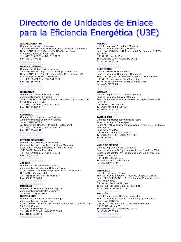 Directorio de Unidades de Enlace para la Eficiencia Energética (U3E)