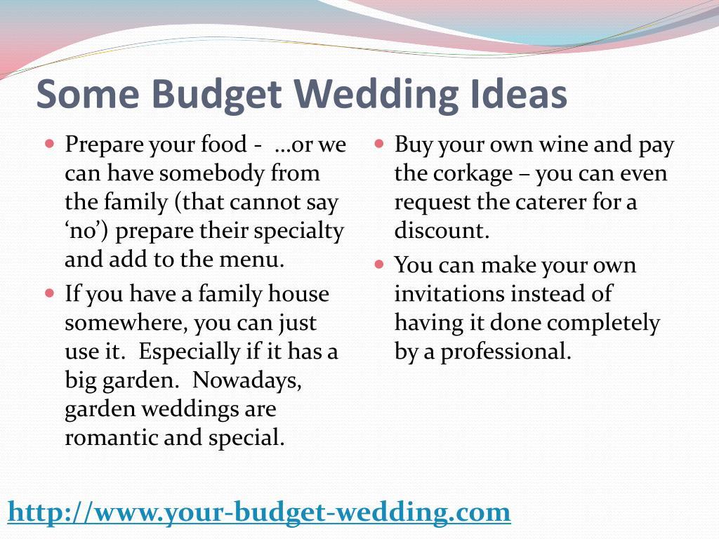Some Budget Wedding Ideas