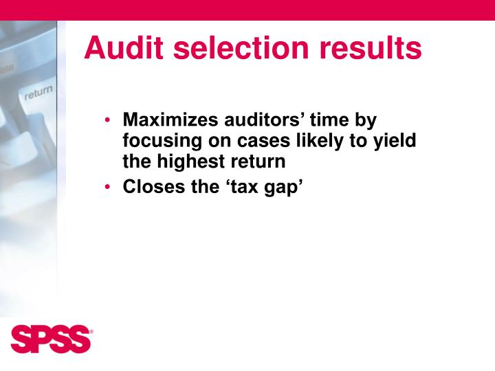 Audit selection results
