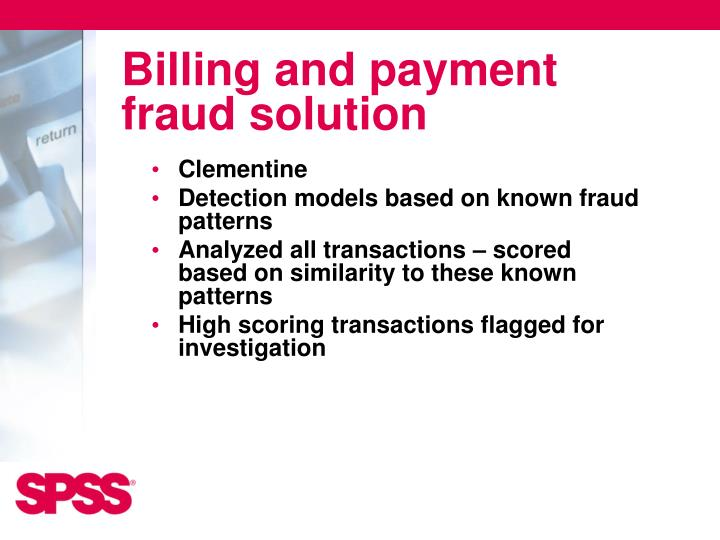 Billing and payment fraud solution