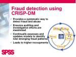 fraud detection using crisp dm