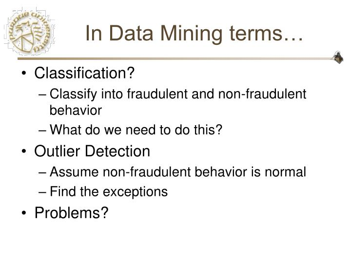 In data mining terms