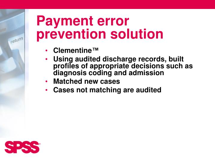 Payment error prevention solution