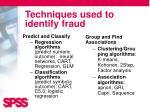 techniques used to identify fraud