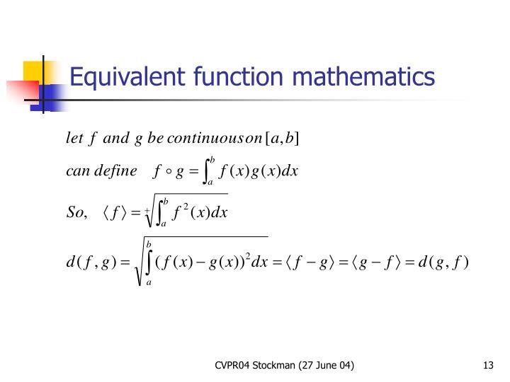 Equivalent function mathematics