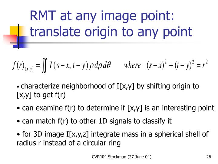RMT at any image point: translate origin to any point