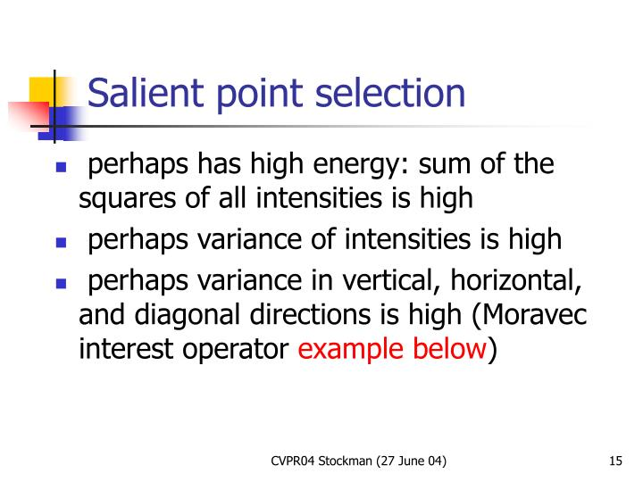 Salient point selection