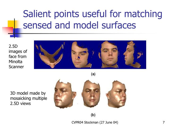 Salient points useful for matching sensed and model surfaces