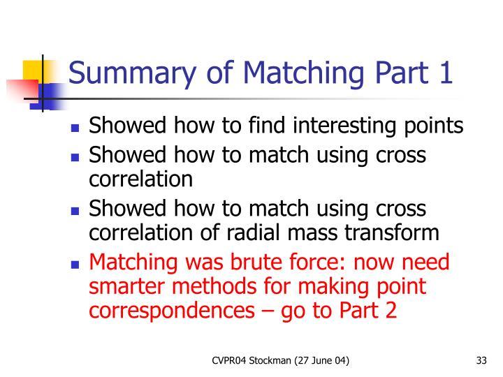 Summary of Matching Part 1