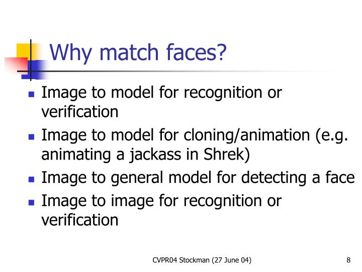 Image to model for recognition or verification